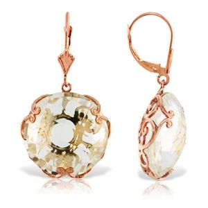 EARRING WITH CHECKERBOARD CUT ROUND WHITE TOPAZ
